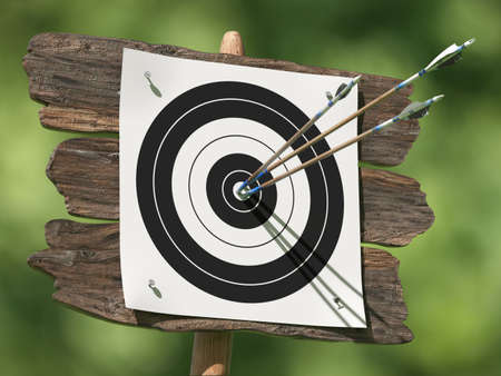 achieved: Very high resolution illustratione of three arrows on an archery target Stock Photo