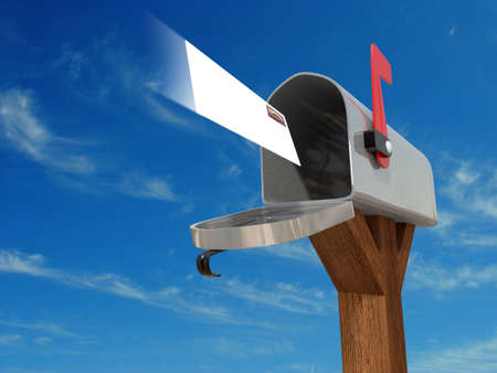 Very high resolution 3D rendering of an open mailbox with a letter arriving