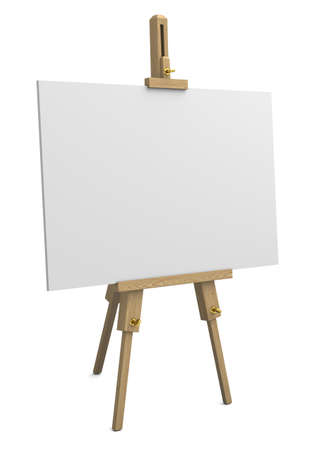 Very high resolution 3d rendering of a wooden easel with empty canvans isolated over white  photo