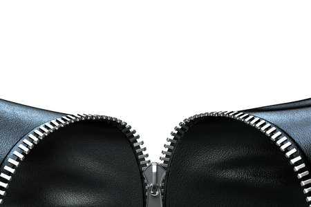 undressing: Very high resolution 3d rendering of an opening zipper on a black leather cloth Stock Photo