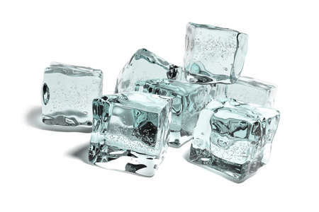 Very high resolution 3d rendering of some icecubes over white