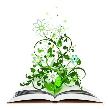 knowledge tree: Very high resolution illustration of an open book with the nature growing from it. Stock Photo