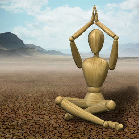 dummies: Very high resolution 3d rendering of a wooden mannequin practicing yoga in a desert. Stock Photo