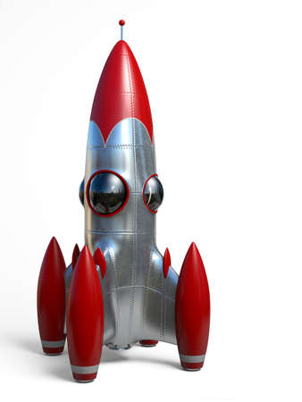 rocketship: Very high resolution 3d rendering of a cartoon-style space rocketship. Stock Photo