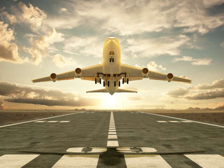 Very high resolution 3d rendering of an airplane taking off at sunset