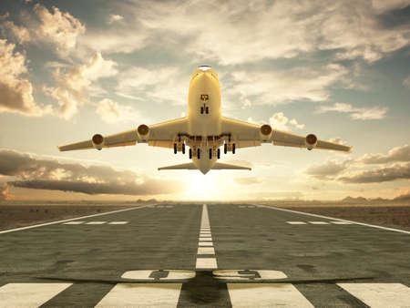 Zeer hoge resolutie 3D-rendering van een opstijgend vliegtuig bij zonsondergang