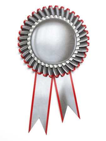 Very high resolution 3d rendering of a silver award rosette over white photo