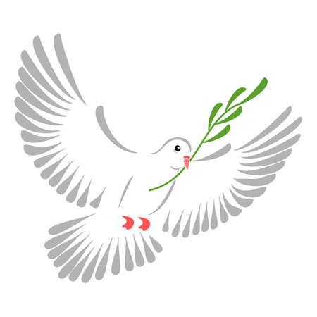 High resolution illustration of a stylized white dove. illustration