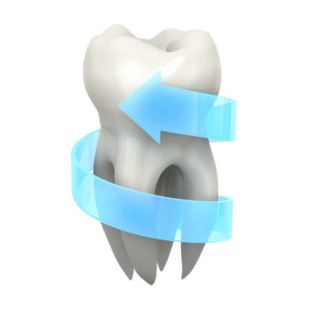 fluoride toothpaste: Very high resolution 3d rendering of a tooth with a blue arrow around it.