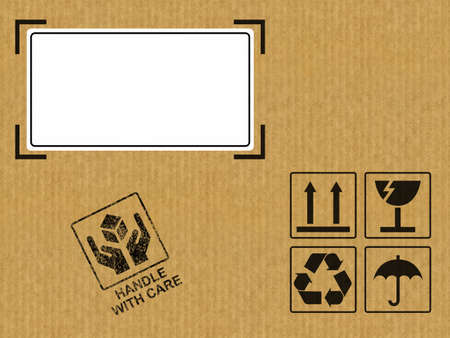 moving office: Very high resolution illustration of a box with a white label.