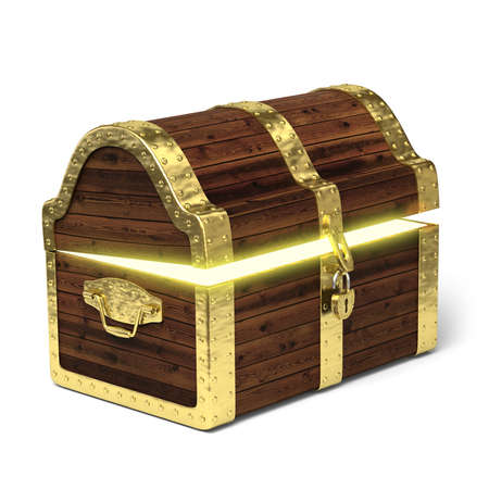 Very high resolution 3D rendering of an old treasure chest