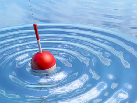 Very high resolution 3D rendering of a fishing float in the water.