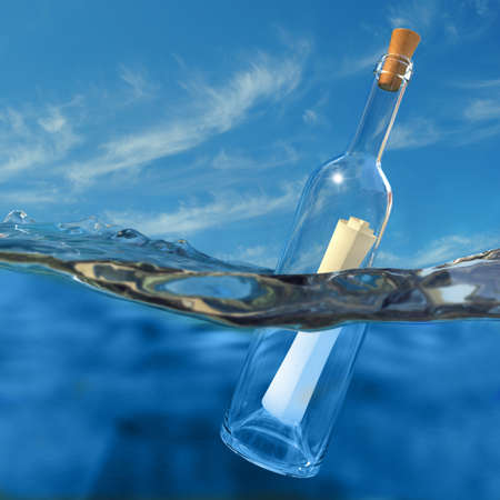 Very high resolution 3d rendering of a bottle with a message inside floating in the water. photo