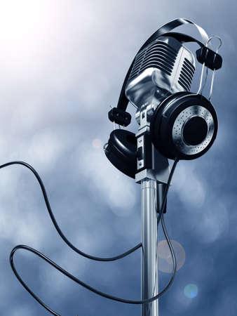 Microphone and headphones Zdjęcie Seryjne