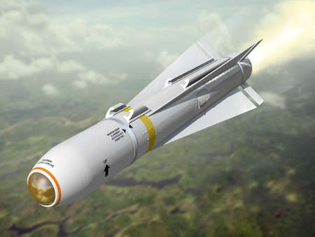 Very high resolution 3d rendering of an air-to-ground missile. photo