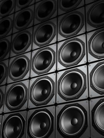 Very high resolution rendering of a wall of speakers.
