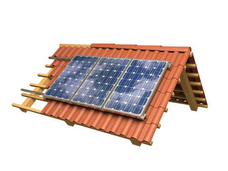 Very high resolution 3d rendering of a roof model with solar panels. photo