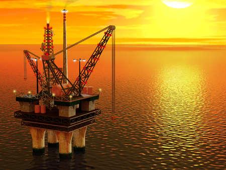 Computer gegenereerde afbeelding van een olieplatform in de zee. Stockfoto