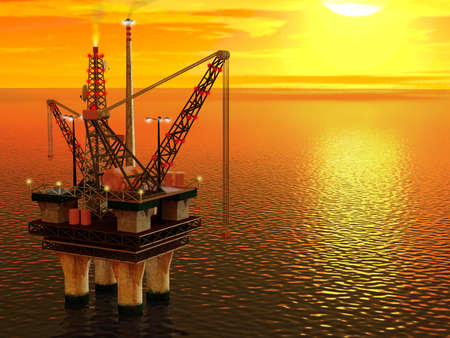 Computer generated image of an oil platform in the sea.
