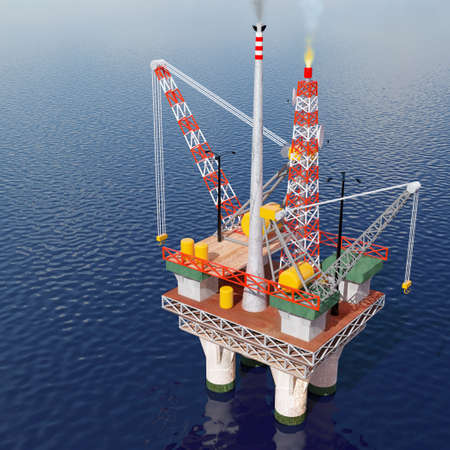 well platform: Computer generated image of an oil platform in the sea.