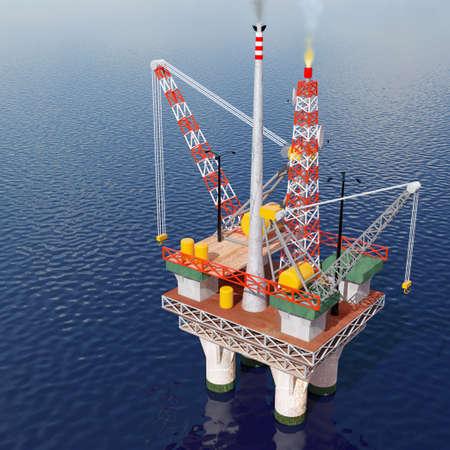 pozo petrolero: Imagen de una plataforma petrolífera en el mar generados por ordenador.