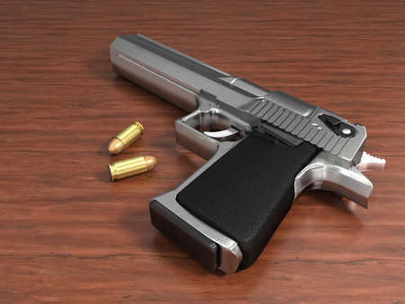 Very high resolution 3d rendering of a gun and two bullets on a table. photo