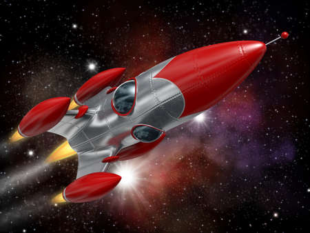 Very high resolution 3d rendering of a cartoon-style space rocketship. photo