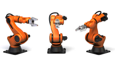 Very high resolution 3d rendering of three industrial robots.