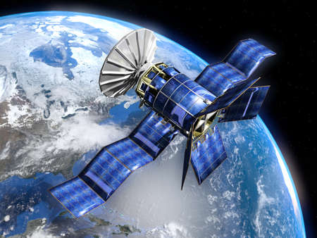 Very high resolution 3d rendering of a satellite in front of the earth. photo