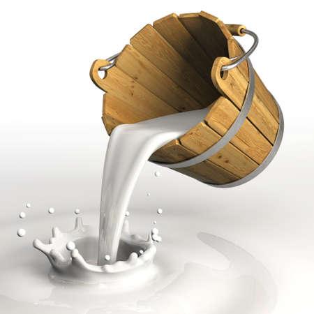 Zeer hoge resolutie 3D-weergave van een emmer gieten melk Stockfoto