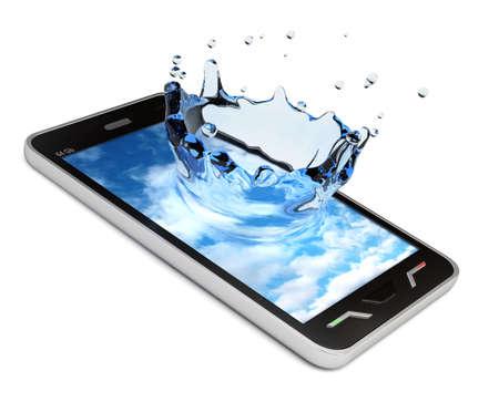 Velmi vysoké rozlišení 3D vykreslování dotykový smartphone s obrazovkou stříkající Reklamní fotografie