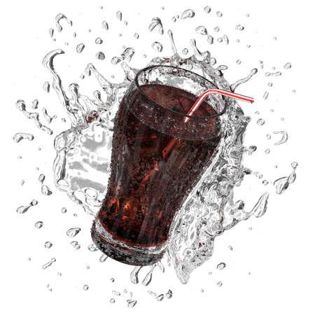 Very high resolution 3d rendering of a glass of fresh coke splashing.