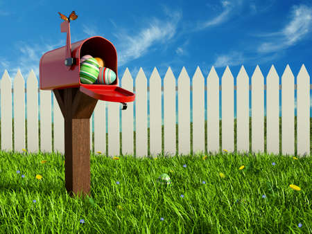 Very high resolution 3D rendering of an open red mailbox with painted Easter eggs inside. Zdjęcie Seryjne