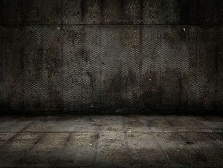 Very high resolution 3d rendering of a grunge metal room photo