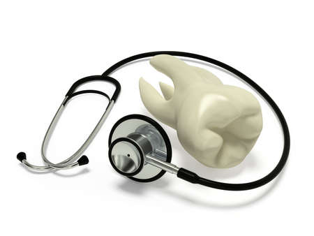 dental research: Very high resolution 3d rendering of a stethoscope and a tooth