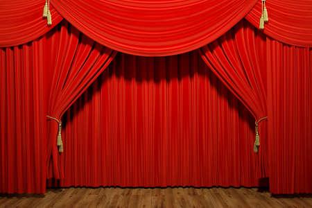 レッド ステージ劇場のベルベットのカーテンの非常に高解像度の 3 d レンダリング
