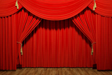 Very high resolution 3d rendering of red stage theater velvet drapes Zdjęcie Seryjne