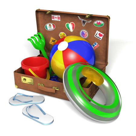 beach toys: Very high resolution 3d rendering of a set of beach toys inside an old suitcase.