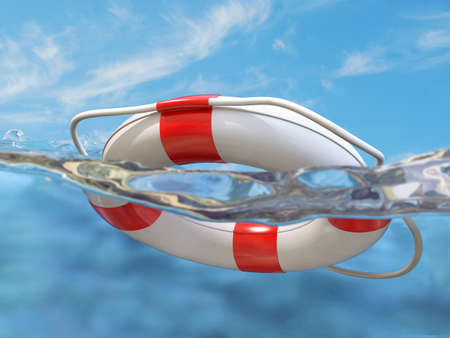 Very high resolution 3d rendering of a lifebelt in the water photo