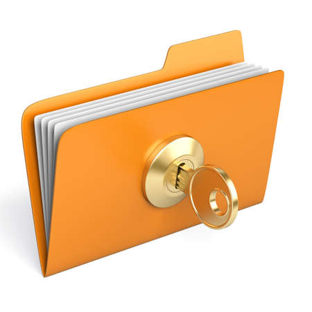 Very high resolution 3d rendering of a yellow folder. photo