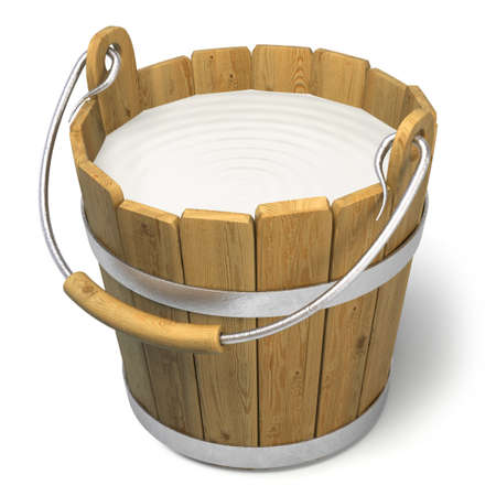 milk pail: Very high resolution 3d rendering of a bucket full of milk. Stock Photo