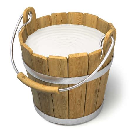 Zeer hoge resolutie 3D-weergave van een emmer vol melk.