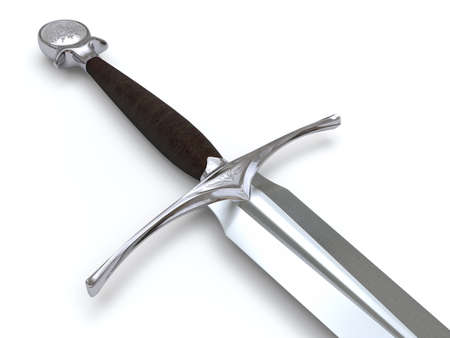 arthur: Very high resolution 3d rendering of a medieval sword isolated over white. Stock Photo