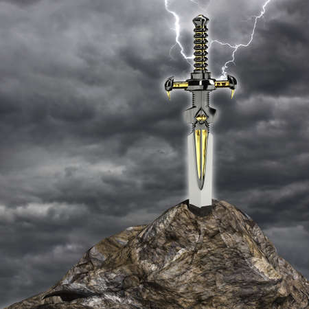 arthur: Very high resolution 3d rendering of a sword stuck in the stone