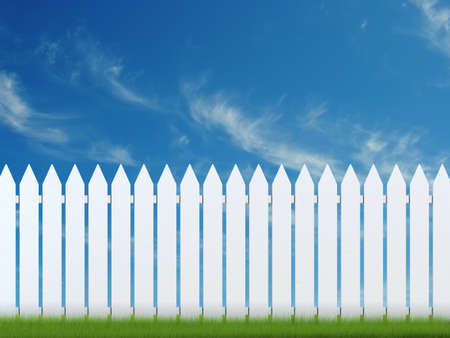 Very high resolution 3D rendering of a white fence over a blue sky Stock Photo