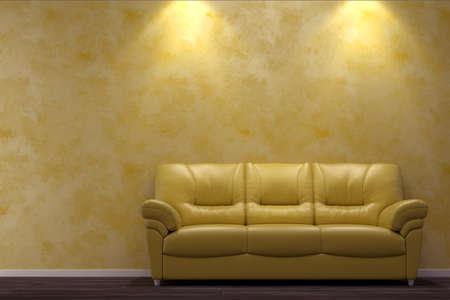 divan: Interior moderno con el sofá amarillo