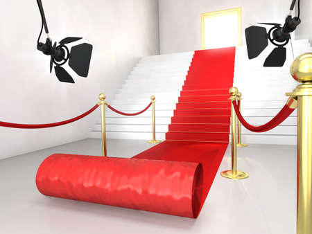 prestige: Very high resolution 3d rendering of a staircase with a red carpet.