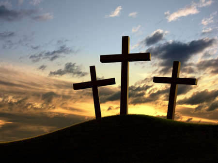 Silhouette of three crosses over a dramatic sky. photo
