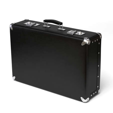 brief: Very high resolution 3d rendering of a black leather brief case.