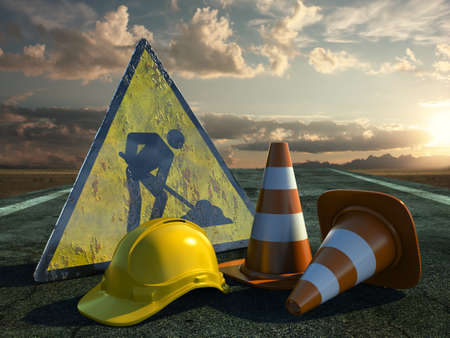Very high resolution 3d rendering of two traffic cones, an hard hat, a road sign over white. photo